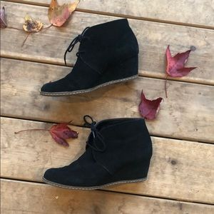 Franco Sarto Acquire Black Suede Wedge Bootie